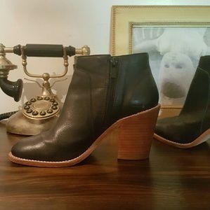 Loeffler Randall black leather ankle boots